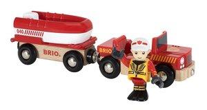 Feuerwehr-Boot mit Transporter