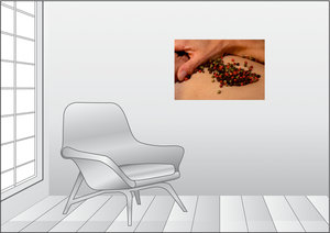 Premium Textil-Leinwand 75 cm x 50 cm quer Pfeffer grün/schwarz/