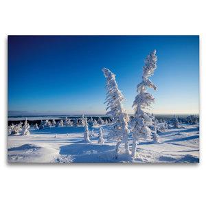 Premium Textil-Leinwand 120 cm x 80 cm quer Kalter Schnee in Kar