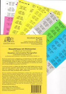 SteuerErlasse Griffregister Nr. 1453 mit Stichworten