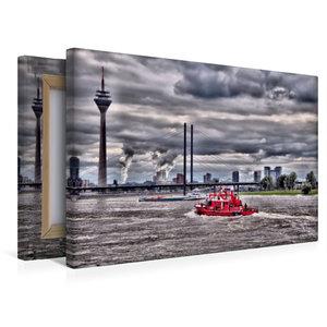Premium Textil-Leinwand 45 cm x 30 cm quer Feuerwehreinsatz über