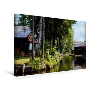 Premium Textil-Leinwand 45 cm x 30 cm quer Häuser an einem Fließ