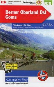 Radwanderkarte Berner Oberland Ost - Goms mit Ortsindex (22)