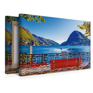 Premium Textil-Leinwand 45 cm x 30 cm quer Pause am Luganer See,