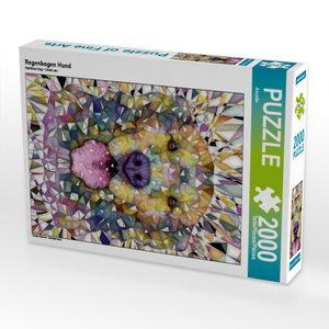 Regenbogen Hund 2000 Teile Puzzle hoch