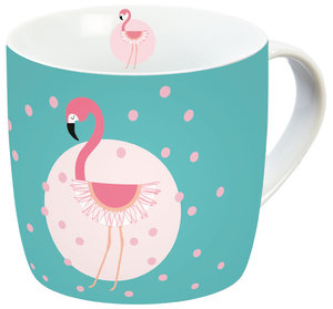 Flamingo Porzellantasse Türkis+Punkte