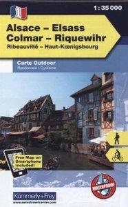 KuF Elsass / Vogesen Outdoorkarte 01 Elsass - Colmar - Riquewihr