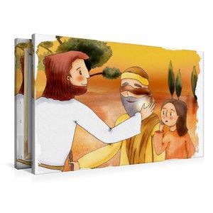 Premium Textil-Leinwand 90 cm x 60 cm quer Jesus heilt einen bli