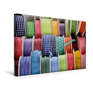 Premium Textil-Leinwand 45 cm x 30 cm quer Bunte Bänder zum Nähe