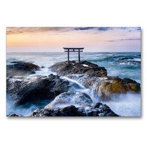 Premium Textil-Leinwand 90 cm x 60 cm quer Japanisches Torii am