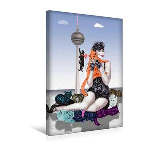Premium Textil-Leinwand 30 cm x 45 cm hoch Mädchen mit Raubkatze