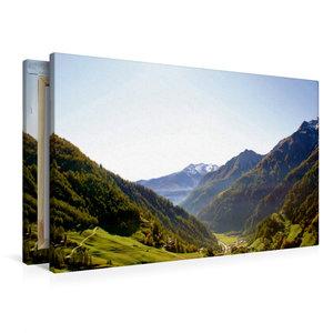 Premium Textil-Leinwand 90 cm x 60 cm quer Blick ins Tal
