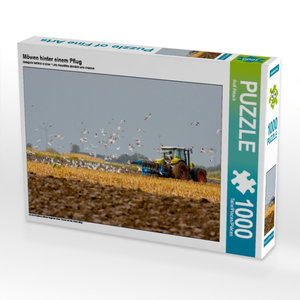 Möwen hinter einem Pflug 1000 Teile Puzzle quer