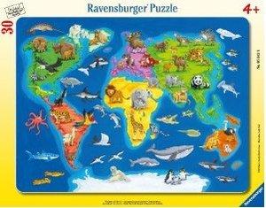Weltkarte mit Tieren. Rahmenpuzzle 30 Teile