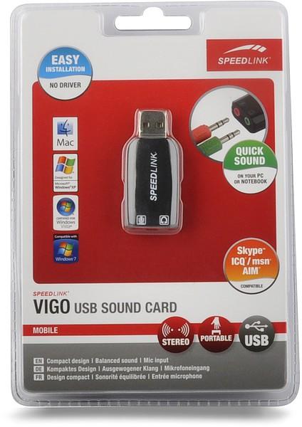 Speedlink VIGO USB Soundcard, Stereo-Soundkarte, schwarz - zum Schließen ins Bild klicken