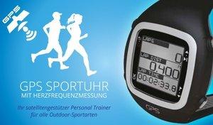 GPS Sportuhr mit Herzfrequenzmessung inklusive Brustgurt (silbe