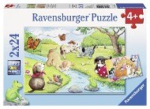 Ravenburger 09194 - Verspielte Vierbeiner, Puzzle, 2x24 Teile