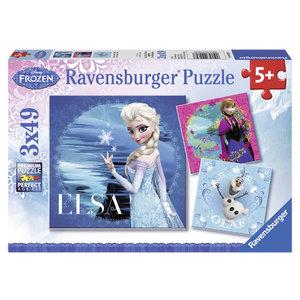 Elsa, Anna & Olaf. Puzzle 3 X 49 Teile