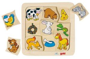 Goki 56880 - Legespiel: Wer frisst was? 9-teilig aus Holz