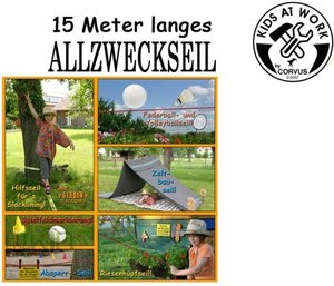 Corvus A750135 - Kids at work: Allzweckseil-Set, Garten Seil, 15