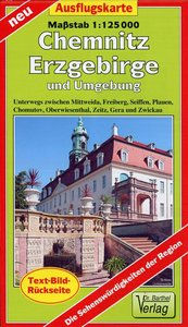 Ausflugskarte Erzgebirge, Chemnitz und Umgebung 1:125000