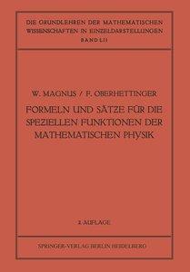 Formeln und Sätze für die Speziellen Funktionen der Mathematisch