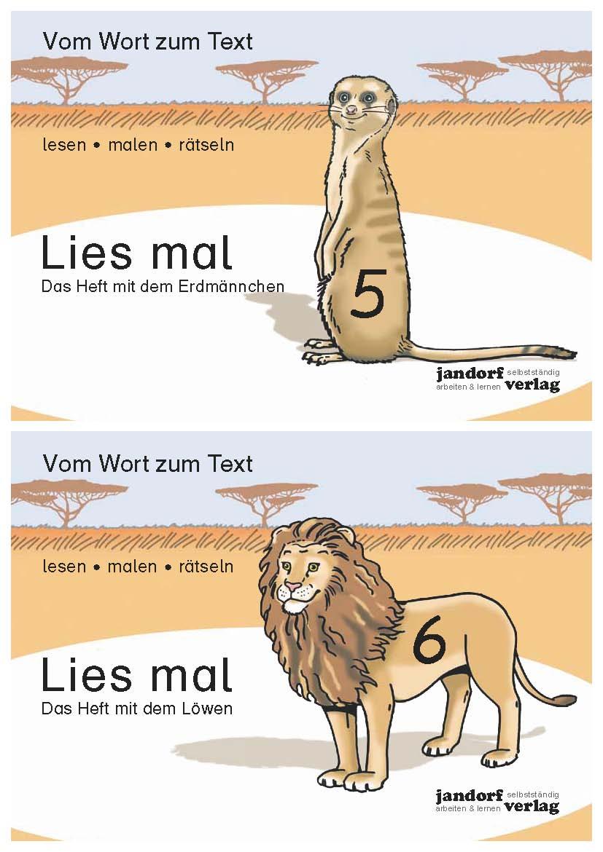 Das Heft mit dem Erdmännchen / Das Heft mit dem Löwen - zum Schließen ins Bild klicken