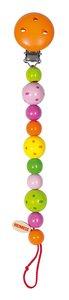 Goki 732230 - Schnullerkette Perlen gepunktet, Holz