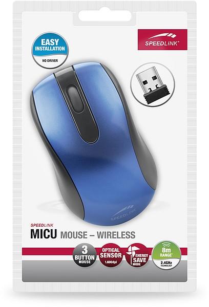 Speedlink MICU Mouse, kabellose 3-Tasten-Maus - Wireless, blau - zum Schließen ins Bild klicken