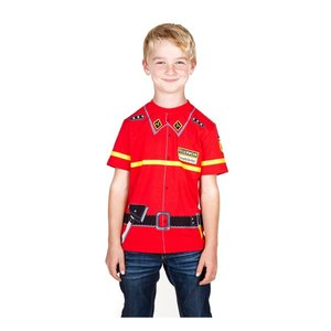 Kids Shirt Kinder Feuerwehr T-Shirt rot Uniform - Gr. 116