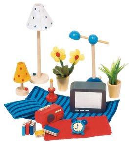 Goki 51934 - Accessoires Wohn- und Schlafzimmer für Puppenhaus