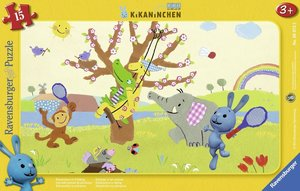 Kikaninchen im Frühling. Rahmenpuzzle 15 Teile