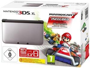 Nintendo 3DS XL Konsole - schwarz / silber inkl. Mario Kart 7 (L