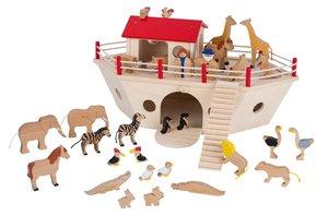 Goki 53831 - Arche Noah, Holz inkl. 28 Tiere, Noah & Frau