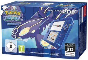 Nintendo 2DS Konsole - Transparent Blau inkl. Pokemon Alpha Saph