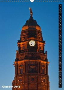 Dresden at night / UK-Version (Wall Calendar 2015 DIN A3 Portrai