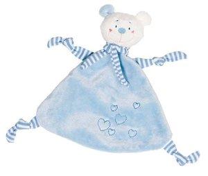 Goki 65115 - Kuscheltuch Bär (hellblau) mit Herzen