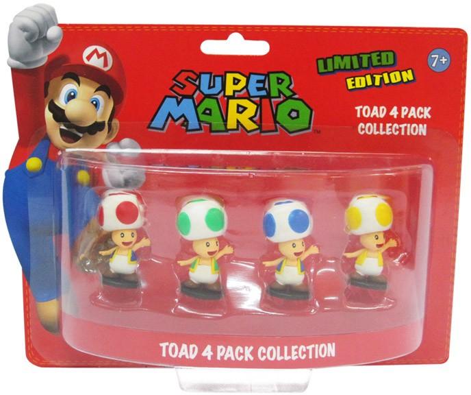 Super Mario Bros. Geschenkbox mit 4 Figuren Toad Edition 6 cm - zum Schließen ins Bild klicken