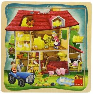 Goula Holzpuzzle Bauernhof 9-teilig