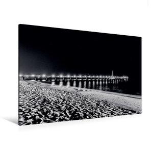Premium Textil-Leinwand 120 cm x 80 cm quer Seebrücke bei Nacht