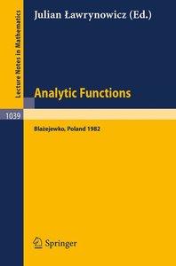 Analytic Functions Blazejewko 1982