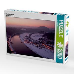 CALVENDO Puzzle Elbe im Winter 2000 Teile Lege-Größe 90 x 67 cm