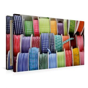 Premium Textil-Leinwand 90 cm x 60 cm quer Bunte Bänder zum Nähe
