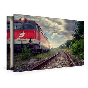 Premium Textil-Leinwand 120 cm x 80 cm quer Lokomotive