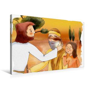 Premium Textil-Leinwand 75 cm x 50 cm quer Jesus heilt einen bli