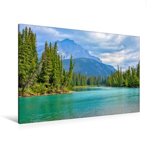 Premium Textil-Leinwand 120 cm x 80 cm quer Bow River bei Banff
