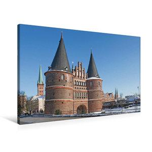 Premium Textil-Leinwand 90 cm x 60 cm quer Holstentor Lübeck