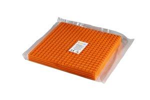 4x Bauplatte orange 20x20 Noppen, 16x16xcm - Basis für Spielzeug