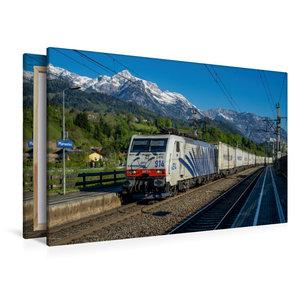 Premium Textil-Leinwand 120 cm x 80 cm quer Berg, Bahn und blaue