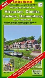Radwander- und Wanderkarte Flusslandschaft Elbe, Hitzacker, Dömi